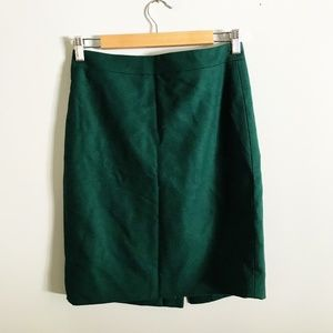 J. Crew Factory Green Merino Wool Pencil Skirt
